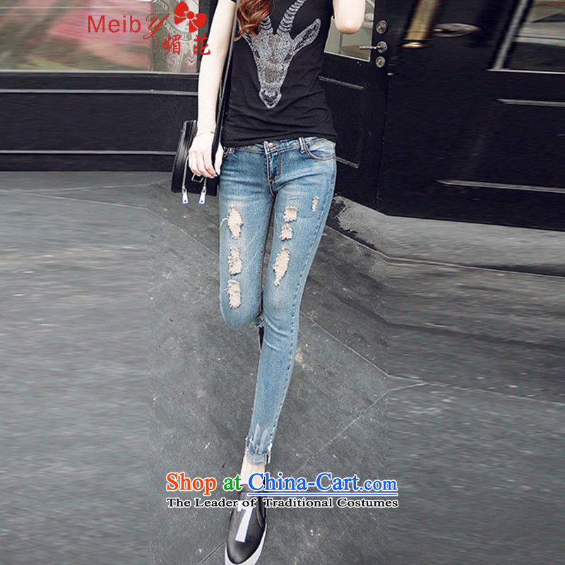 Large meiby female wild stylish large wild jeans score of 9 ms jeans female castor jeans pants pencil large female�. 67-8134爈ight blue燬