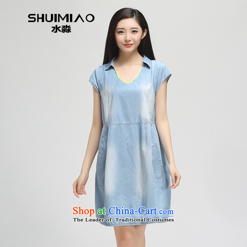 In the summer of 2015 by water New Product Code women thick mm cowboy short-sleeved dresses S15XY5049 cowboy, Female dressL