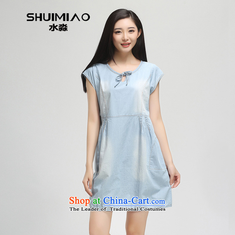 The representative of the water in the summer of 2015, replacing the new 200 catties larger female cowboy short-sleeved dresses S15XY5043 cowboy, Female dress L