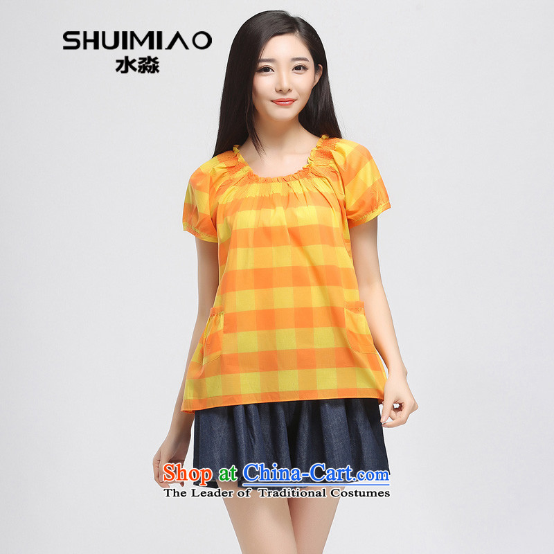 The representative of the water in the summer of 2015, replacing the new 200 catties larger female thick cotton fabric, mm, short-sleeved T-shirt 15XK4857 girl Huang orange, L