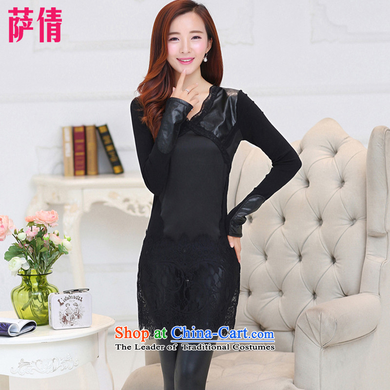 Mr. Qian 2015 autumn and winter large new women's dresses Korean stitching PU Coated shirt graphics plus lint-free in thin long lace shirt W108 Extremity black. XXL