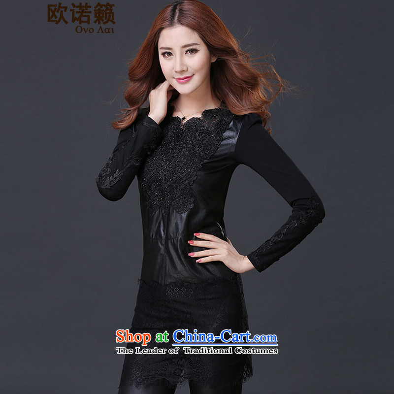 By the autumn and winter enjoy the new Fat MM THIN plus lint-free video     in the large long T-shirts and stylish lace PU Coated skirts L0244 stitching Black _A_ lint-free_ XL
