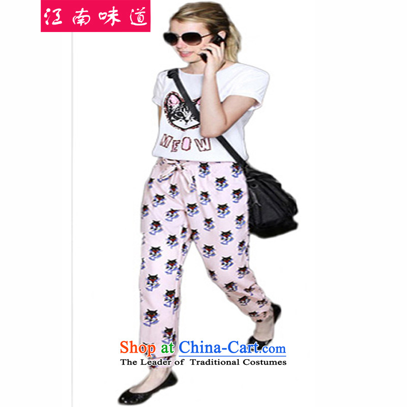 Gangnam-gu large taste of women for summer to increase girls' thick graphics thin, summer thick sister Korean short-sleeved T-shirt + chiffon pants Kit 322 map color5XL recommendations 180-200 catty