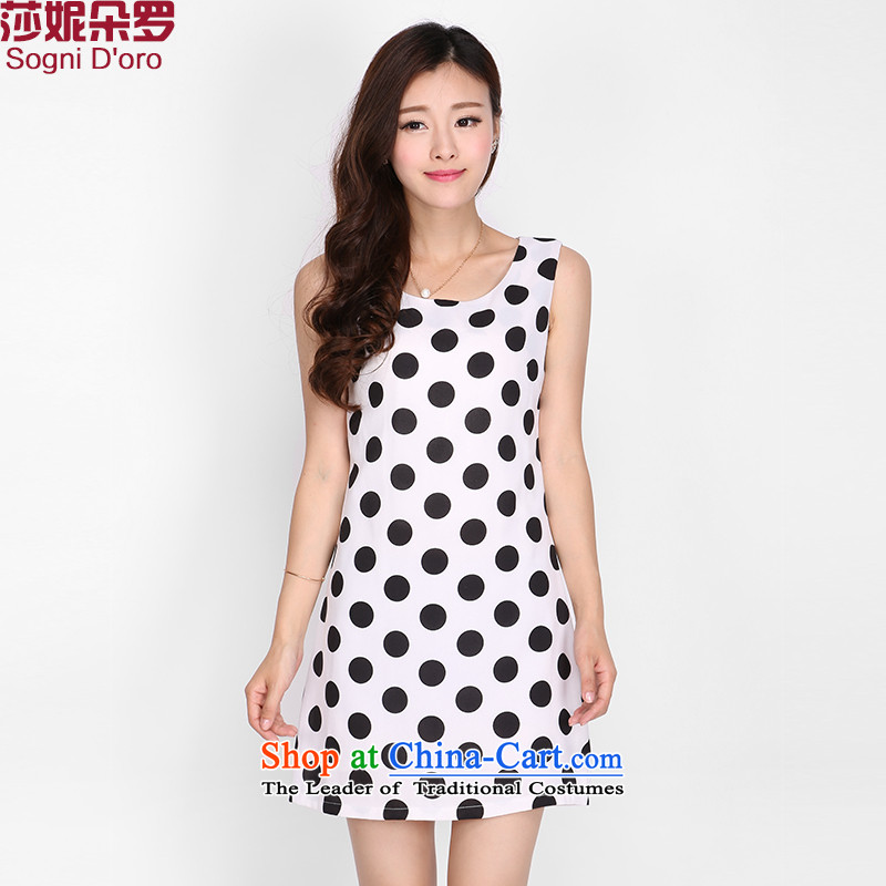 Shani Flower Lo 200 catties larger women's summer mm2015 thick summer wear skirts to intensify the vest dresses 2,114 White�L