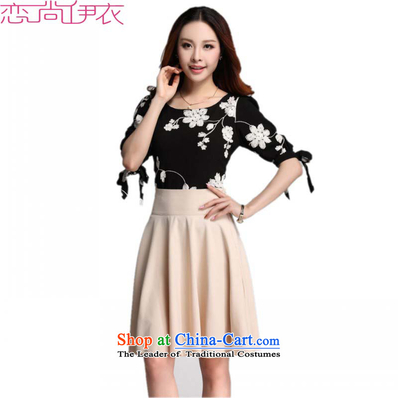 Slim Connie plus hypertrophy code Yi New Summer 2015 Korean large fifth cuff round-neck collar embroidered dress really two kits of the body in the skirt-sleeved T-shirt kit skirt black T-shirt燲L爓aist 2 ft 3