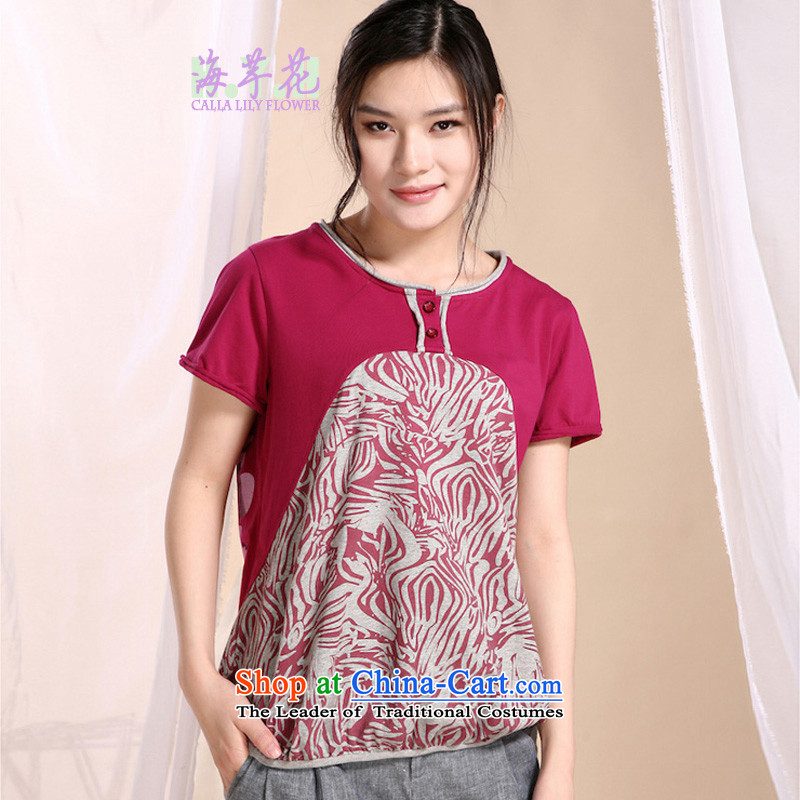 The sea route to spend the new pure cotton stamp stitching large round-neck collar half sleeve shirts 5HFS Edge of RedXL