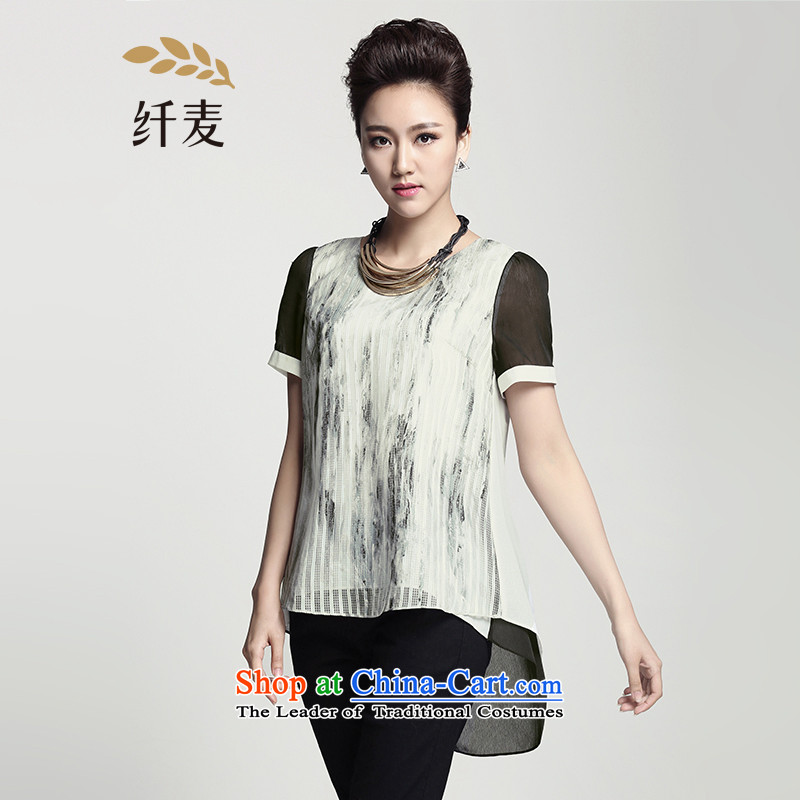 The former Yugoslavia Migdal Code women 2015 Summer new mm thick stylish under irregular dyeing T-shirt�2362367燝ray�L