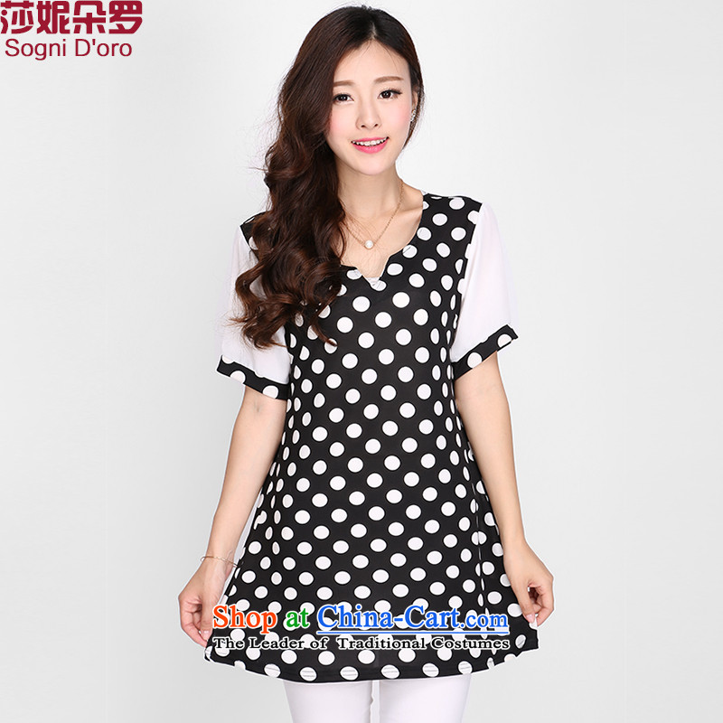Shani Flower Lo 2015 Summer new Korean version of large numbers of ladies summer short-sleeved T-shirt V-neck in the small girl video thin coat 2113 Black�L