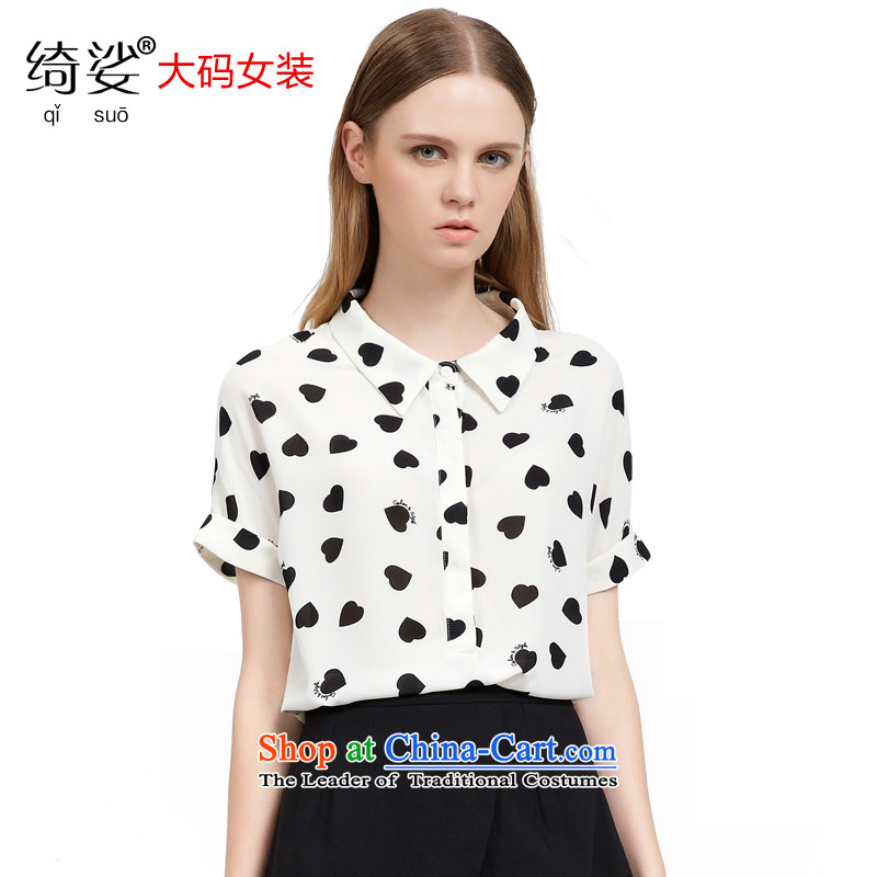 As provided for by 2015 XL female thick MM new summer products Korean sweet heart-shaped video thin black short-sleeved shirt poverty 27875XL White