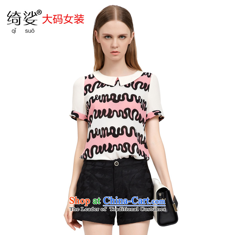As provided for in the summer 2015 New Product Codes female Korean Sweet child for stitching fun color plane short-sleeved T-shirt  2772 White L