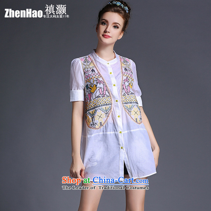 Performance Counters soldiers tried to genuine爊ew spring and summer 2015 to increase the number of women in Europe and the Sister mm thick wind graphics thin geometry embroidery in silk and cotton shirt-sleeves day white T-shirt�L