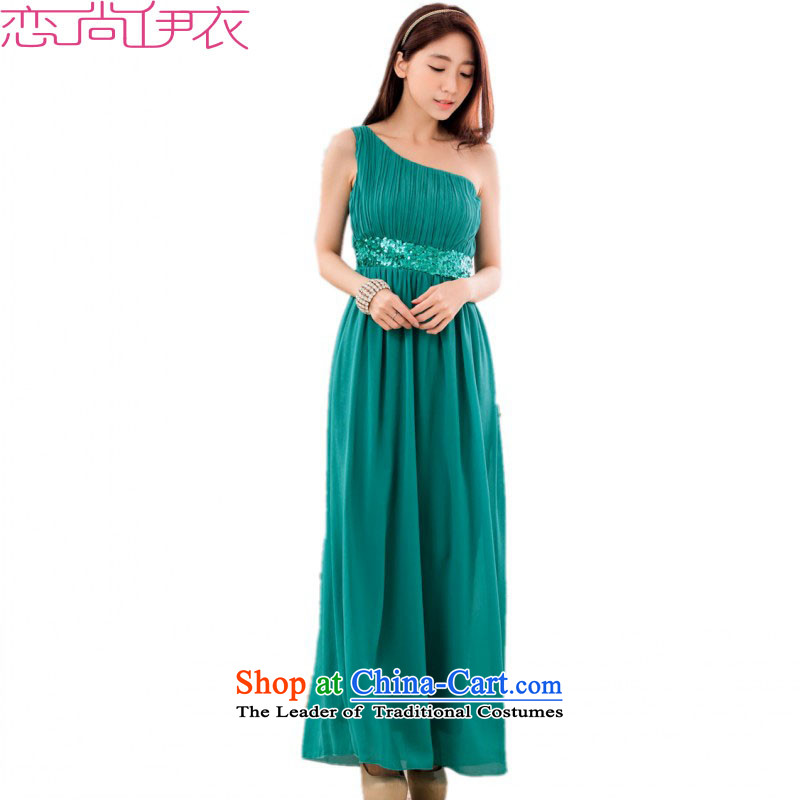 C.o.d. 2015 new stylish single shoulder higher waist video thin nail pearl chiffon dress long evening dresses dresses larger hosted a long skirt thick m green燲L燼pproximately 120-140 catty