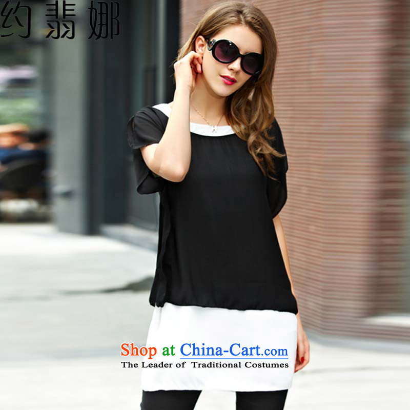 About the爈arge 2015 desecrated by the female new summer thick mm leave two T-shirts are black trousers kit to increase the color pictures 5858燲XL