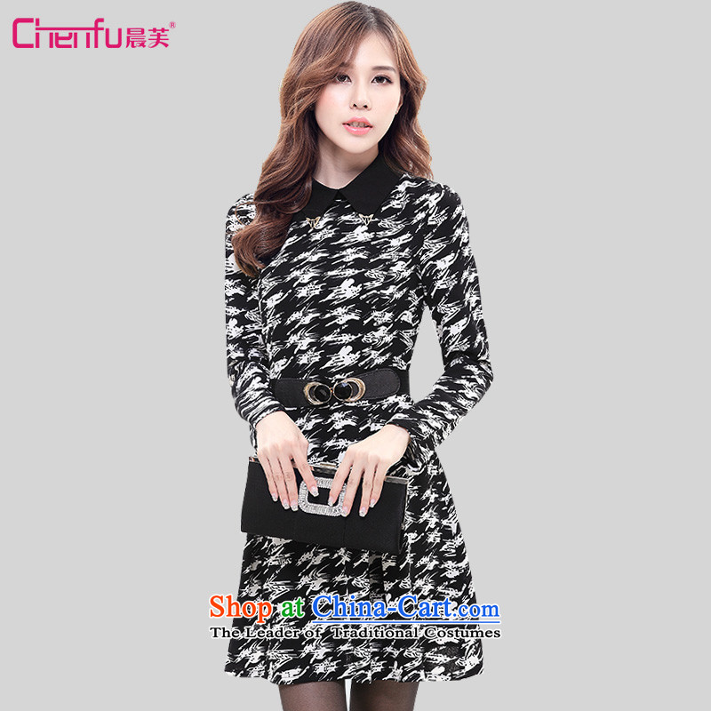 Morning to 2015 to increase the number of female chidori autumn and winter new dresses Korean version of thin Sau San long skirt skirt chidori3XL( recommendations 150-165¨burden.)