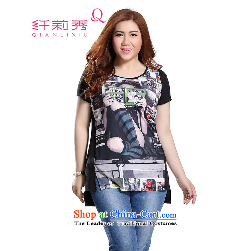 The former Yugoslavia Li Sau 2015 Summer new larger women in Europe street girls reportedly knocked on digital printing under the forklift truck kit head video thin wild Q8662 T-shirt black�L