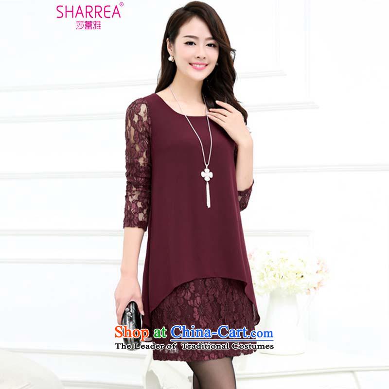Sarah ya 2015 Autumn replacing large thick MM loose long-sleeved lace stitching chiffon dresses female 1088 purple燣