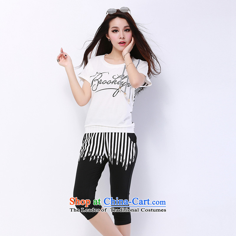 The new summer 2015 Doi larger female thick mm thick sister summer short-sleeved to xl leisure sports wear white燣 recommendations 90-110 catty