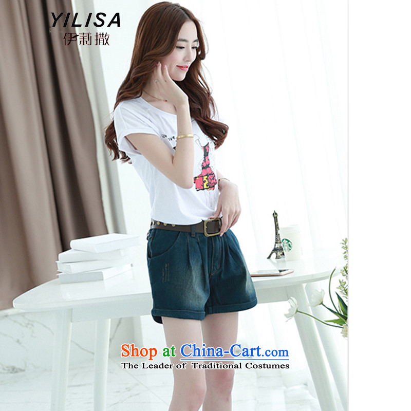 Ms 2015 new sub-large female summer jeans Korean large summer loose thick MM summer video thin jeans H6108 summer picture color female4XL