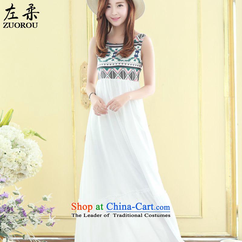 �  2015 Summer Sophie left Korean female stylish Ruili Quality Bohemia wind like Susy Nagle chiffon vest stitching gliding dresses m White燤