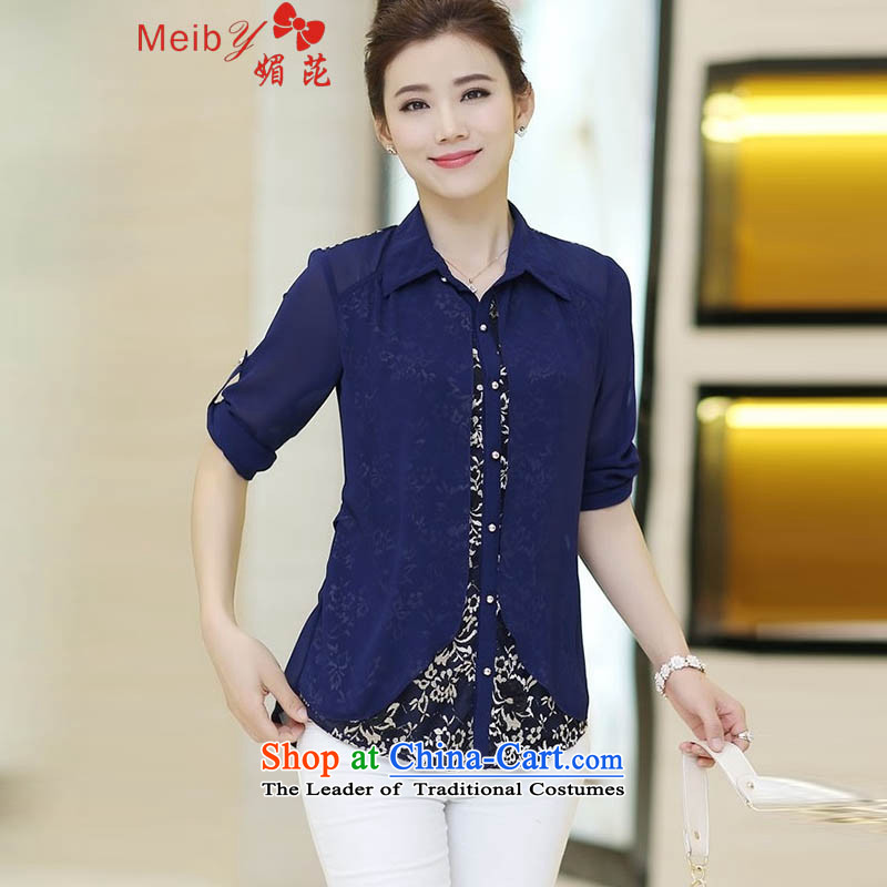 Large meiby female wild Sleek and versatile large spring new middle-aged female false two large lace long-sleeved shirt shirt -8350 forming the dark blue M