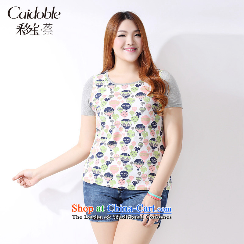 The spring and summer of 2015, more women's large Po thick MM stylish stamp stitching short-sleeved T-shirt A3766 SUIT燲L