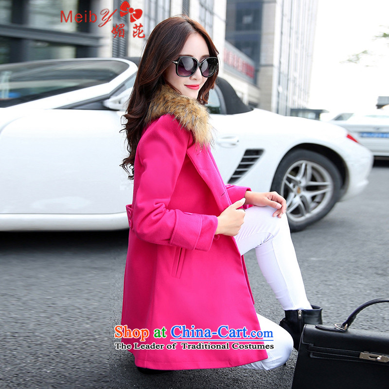 2015 Autumn and winter new meiby stylish large wild women's gross? jacket double-pocket edition in Sau San long won_ for 8101 in the red hair燣