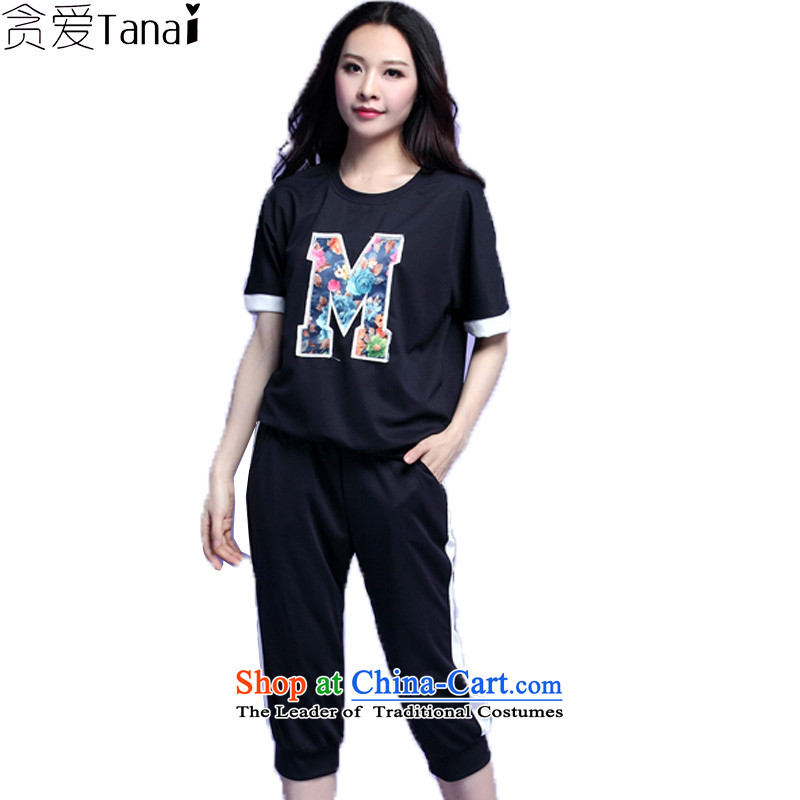 Coveted summer fat mm xl short-sleeved blouses and Leisure Sports Suits 3,706 dark blue�L