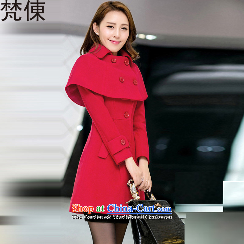 Van Gogh ? downcoat female larger female autumn and winter female Korean version of the new long wind jacket thick MM thick hair? female 888 large red cloak� 3XL