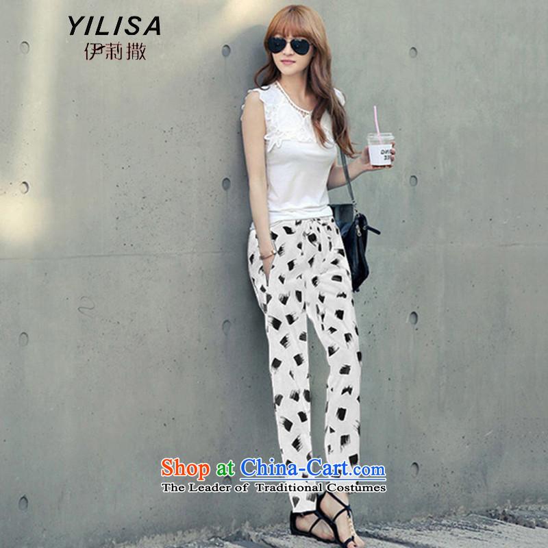 Elizabeth sub-large female summer Korean New floral pants thick mm summer loose Harun chiffon trousers female flowers pants castor pant Y9069 White4XL