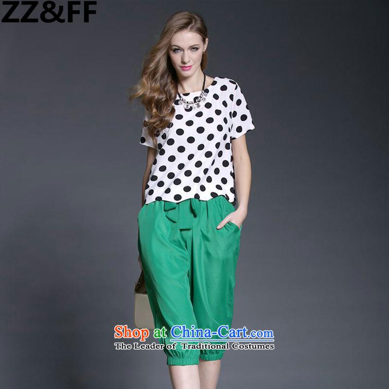 2015 European and American large Zz_ff Women's Summer Fat MM new retro dot chiffon shirt Harun Capri two kits two kits燲XXXXL color picture