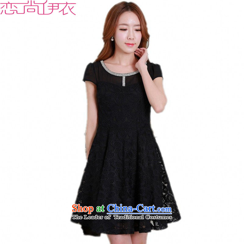 C.o.d. xl Ladies Blouses and skirts Korean flash drill decorated irrepressible lace elegant graphics thin dresses thick mmol commuter video thin short-sleeved black skirtaround 90-105 catty M