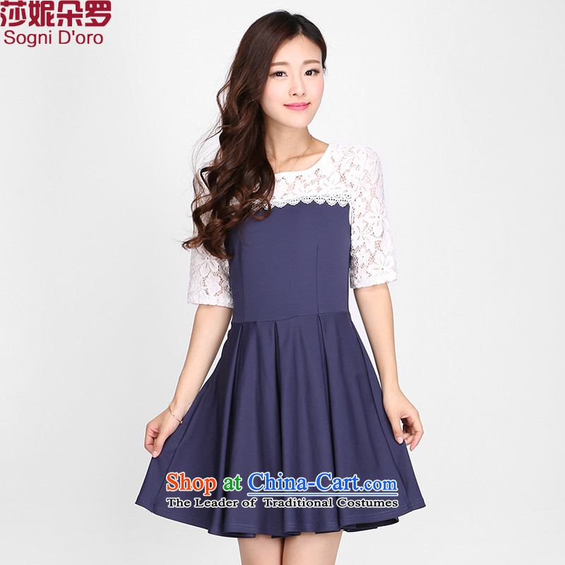 Luo Shani Flower Code women's summer dresses Korean to intensify the thick mm lace short-sleeved video thin skirt 2116 Financial blue�L