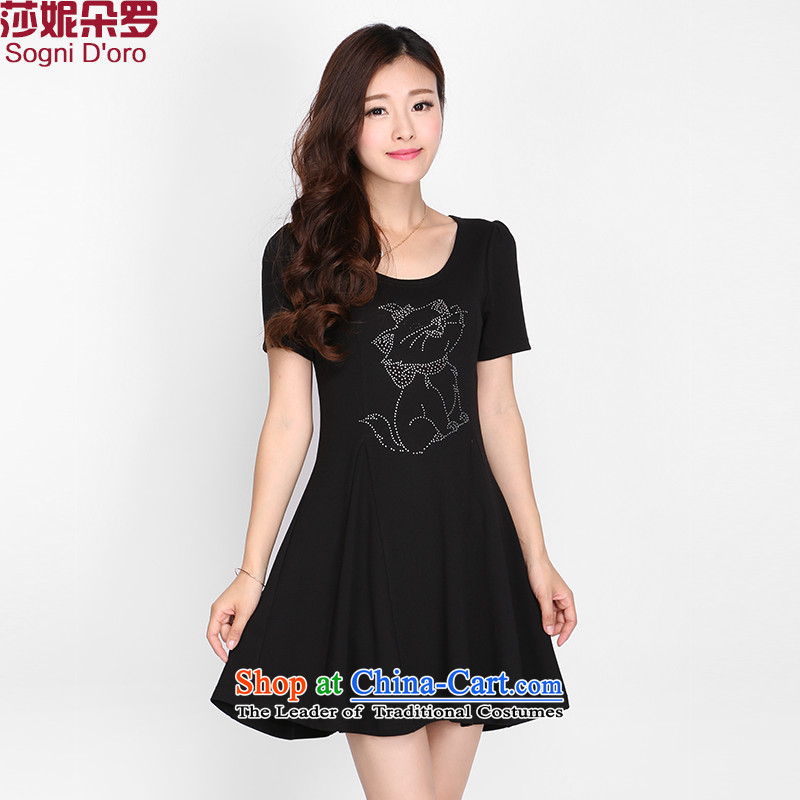 Shani flower, summer 2015 mm thick larger female graphics thin to increase short-sleeved round-neck collar ironing drill dresses�L 2117 Black