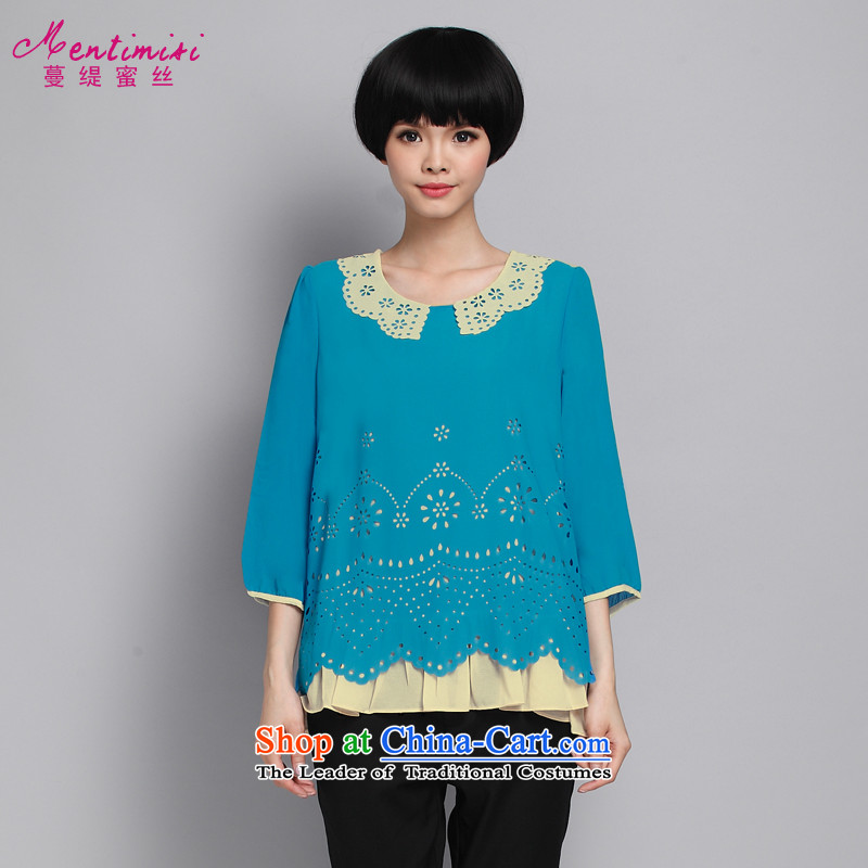 Overgrown Tomb economy honey population燽y 2015 Spring New Products engraving chiffon leave two large, Ms. shirt thick MM shirt 6150 light blue�L