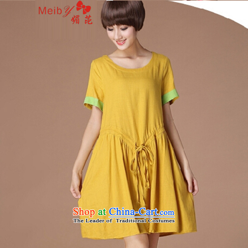 Meiby summer new Korean version of large numbers of ladies Foutune of video thin loose cotton linen dresses 6,979 short-sleeved yellow XL