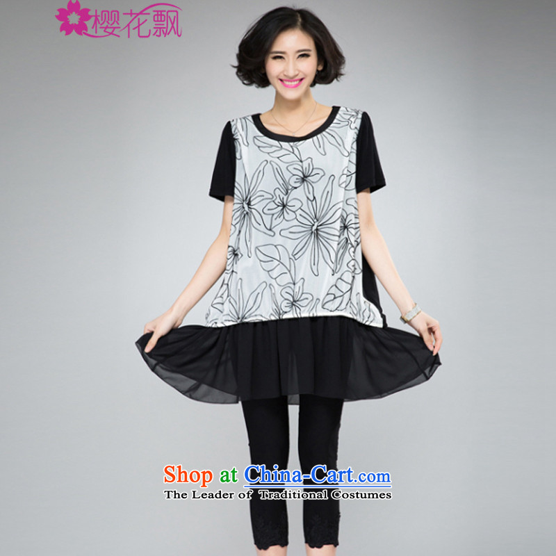 Cherry blossoms drift thick mm heavy Code women's dresses 2015 Spring_Summer new people of the video thin thick western chiffon flowers computer embroidery leave two T-shirts dress withXL