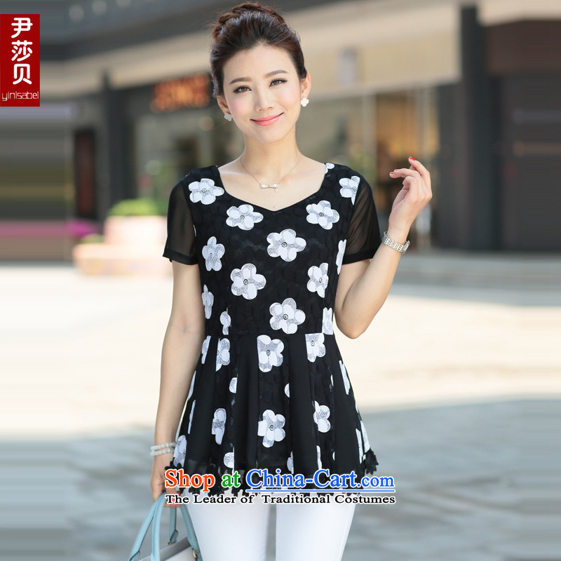 Yoon Elizabeth Odio Benito summer new larger female Korean Sau San video thin thick mm lace short-sleeved T-shirt, forming the Liberal Women clothes black flowerXXLaround 922.747 145