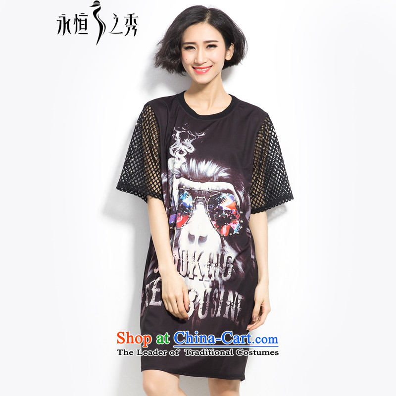 Summer 2015 mm thick new European and American women in large long digital printing wild video thin dresses Black燲L