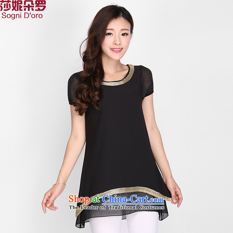 Luo Shani flower chiffon shirt relaxd code short-sleeved thick sister summer to XL T-shirts 2118 Black4XL