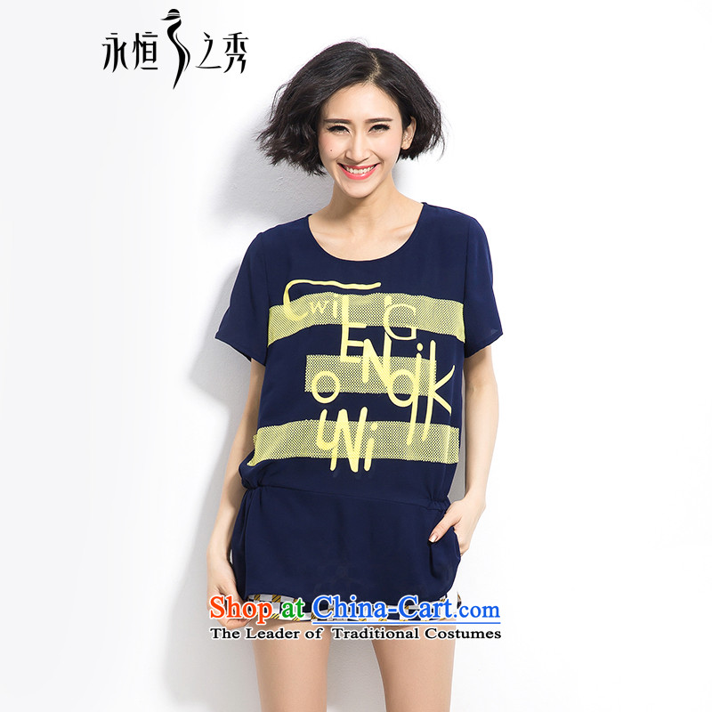 Summer 2015 mm thick new Korean version of large numbers of ladies irregular bar collage atmospheric letters short-sleeved T-shirt color navy4XL