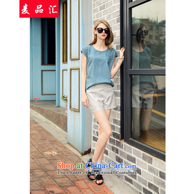 Mr products in燛urope for summer 2015 removals by sinks xl female thick people new linen Leisure Package loose coat + high waist video thin shorts two kits�0燩eacock Blue + Gray shorts燲L