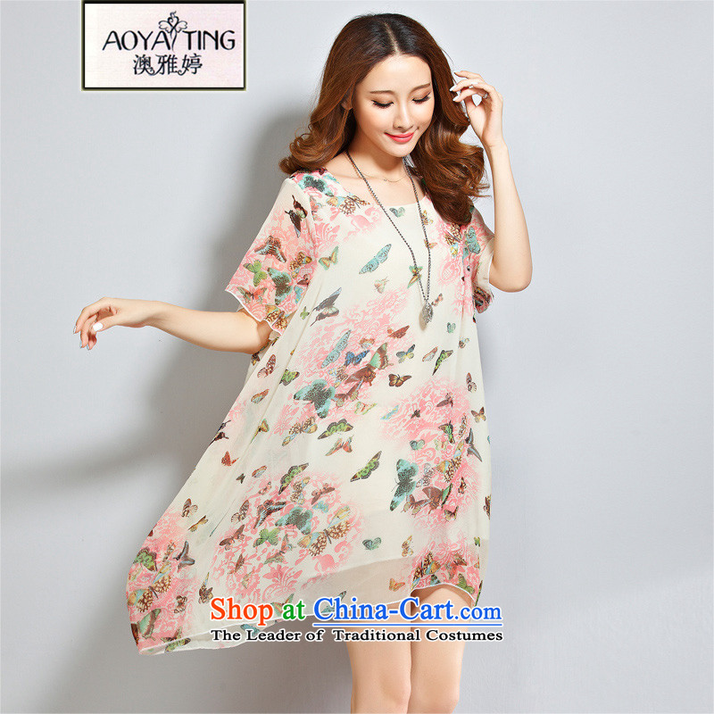 O Ya-ting 2015 new to increase women's code of women's summer thick video thin chiffon resort dresses girl pink butterfly stamp XL 160-200 recommends that you Jin