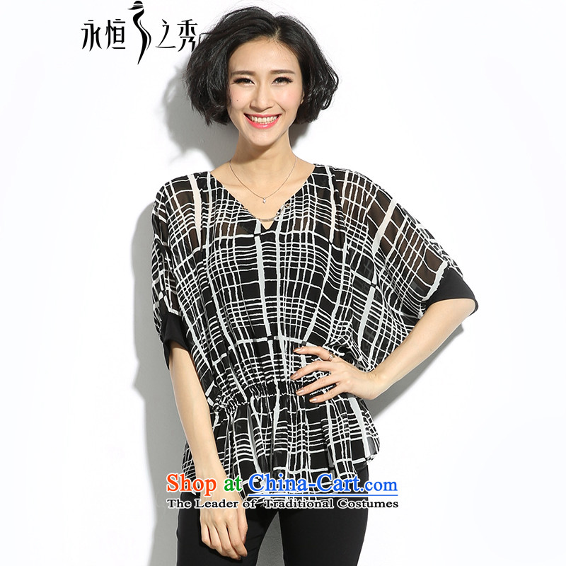 The Eternal Yuexiu Code women thick mm summer new products chiffon shirt thick sister thick, Hin thin, Korea Version V-neck in the black-and-white Plaid Print Foutune of loose t-shirt3XL black