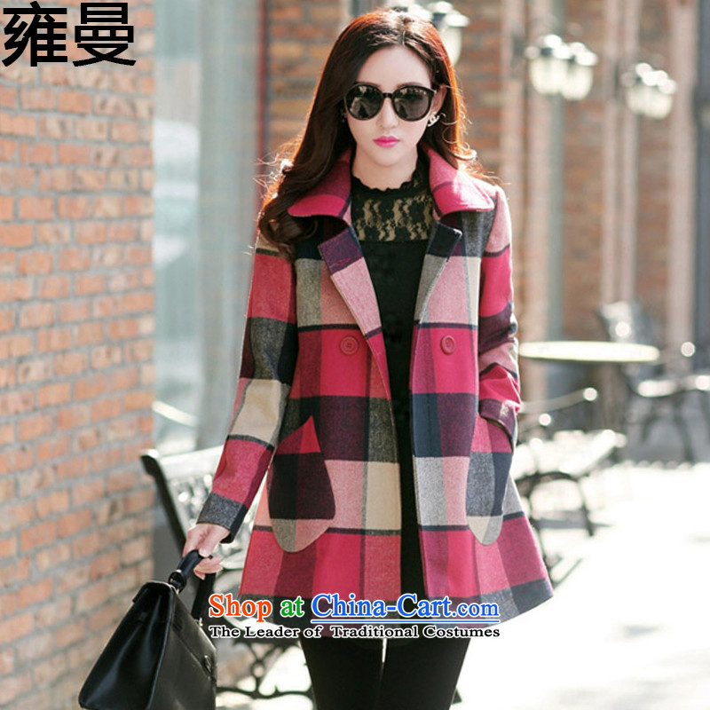 And Cayman聽 2015 Autumn new larger female Korean Sau San video thin grid jacket? female autumn聽 Y9059 gross聽red聽XXL