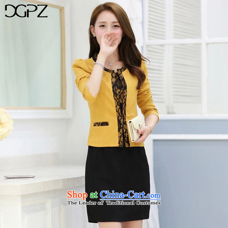 Large DGPZ women's dresses Kit 2015 Fall/Winter Collections new president suite skirts V620 Yellow Kit L
