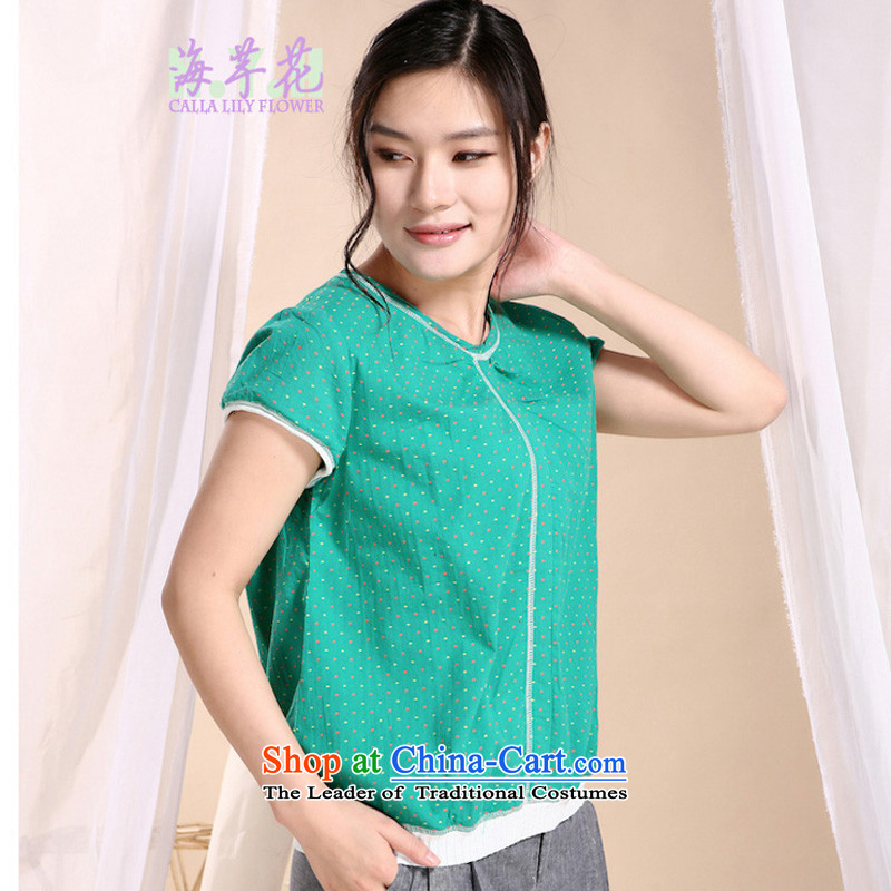 The sea route to spend the new pure cotton wave point round-neck collar stamp half sleeve shirts 5QFS large greenXL