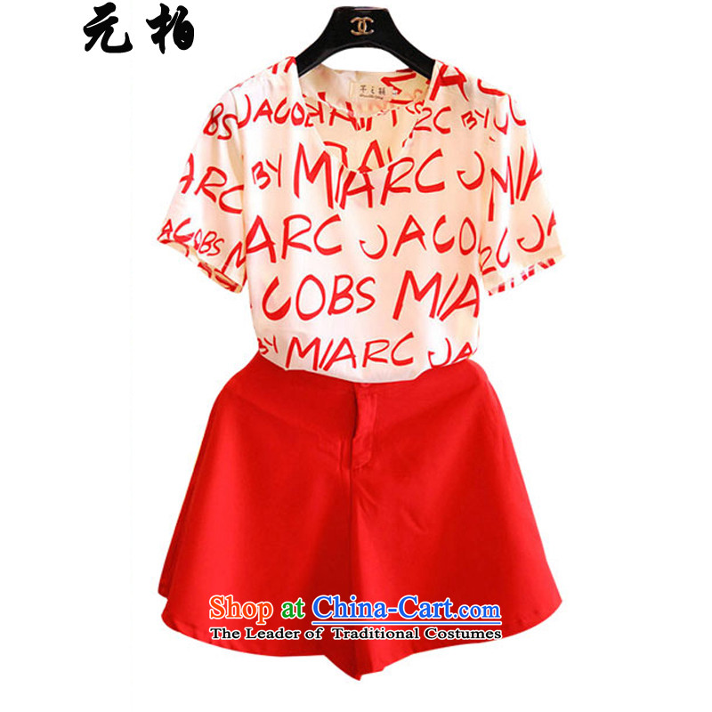 In Perth for summer new larger ladies casual letters stamp chiffon two kits loose shorts map color of these over 258 XL around 922.747 115-130