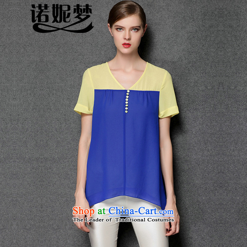 The Europe and the 2015 Summer Dream Connie new larger female thick mm stylish and simple knocked loose stitching color short-sleeved T-shirt female chiffon y3396 blueXXXL T-Shirt