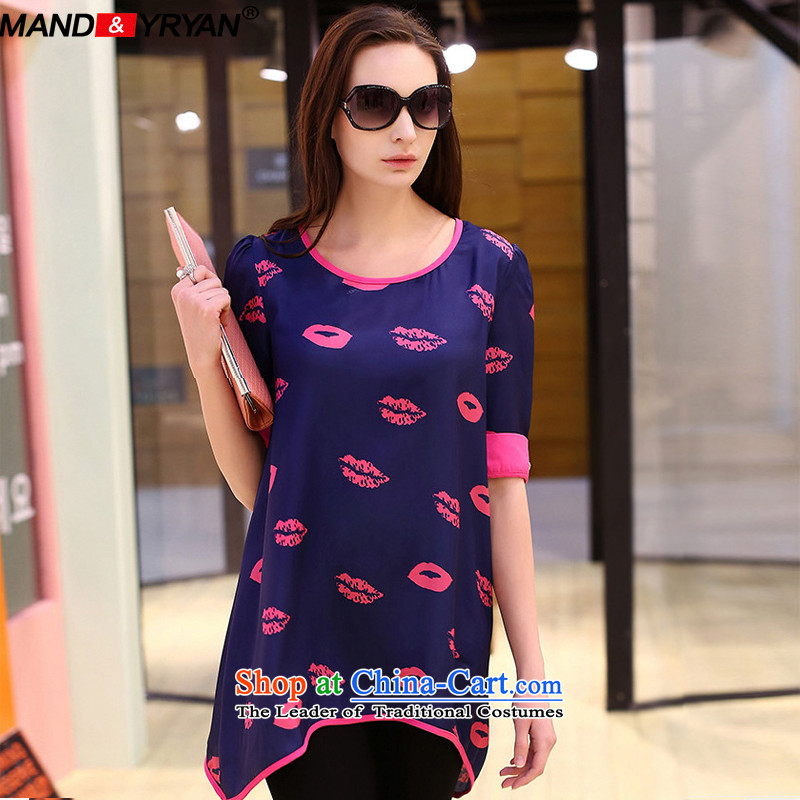 Mantile tu 2015 new 200 catties larger women's summer lips stamp loose short-sleeved T-shirt, long figure MDR1923 XXXXXL