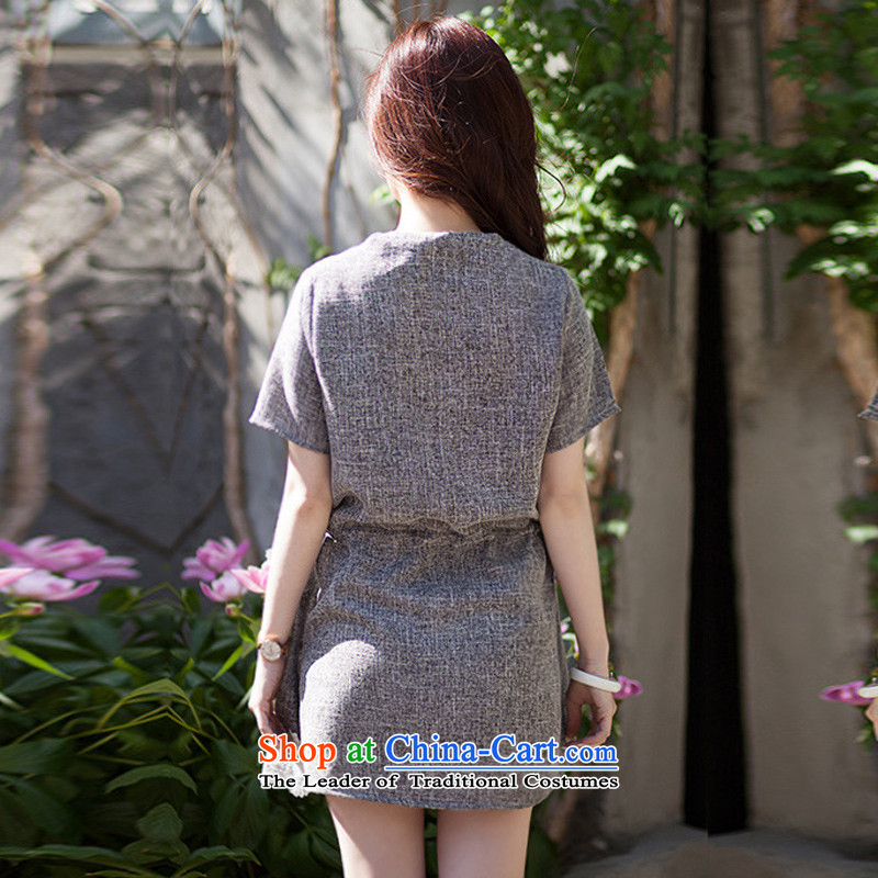 To increase the number missdonut female Korean mm200 thick catty summer new products thick sister short-sleeved lace stitched cotton linen dresses large gray code XL recommendations 135-150 catty ,missdonut,,, shopping on the Internet